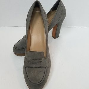 Talbots Gray Suede Penny Loafer Pumps Heels
